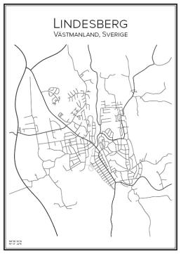 Stadskarta över Lindesberg