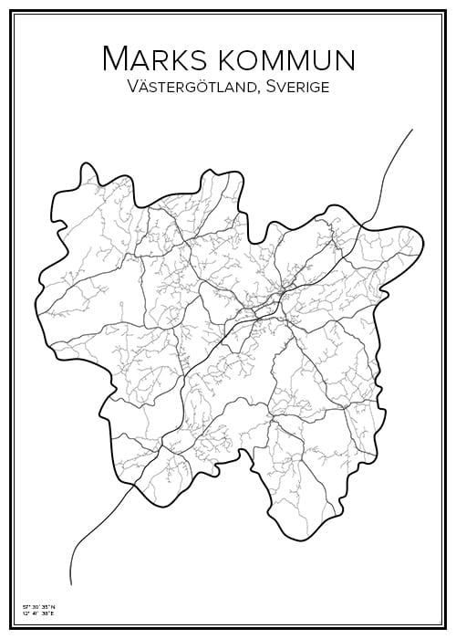 Stadskarta över Marks kommun