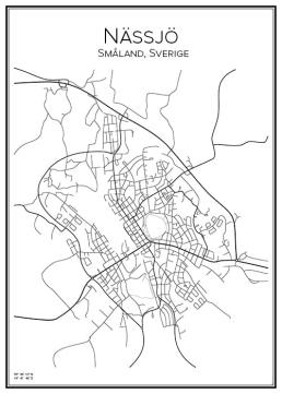 Stadskarta över Nässjö