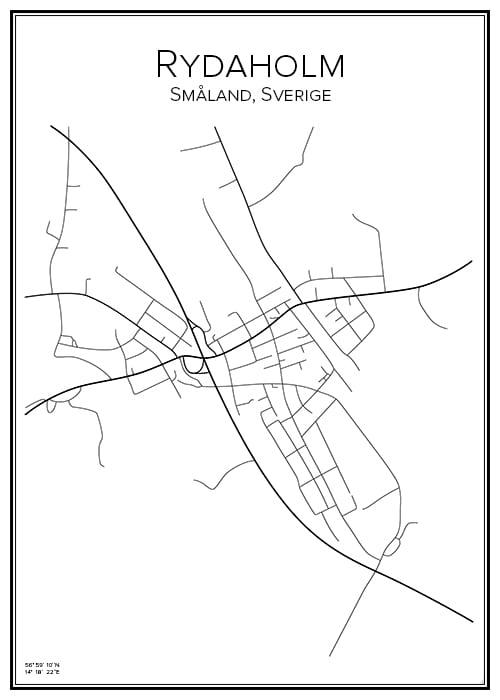 Stadskarta över Rydaholm