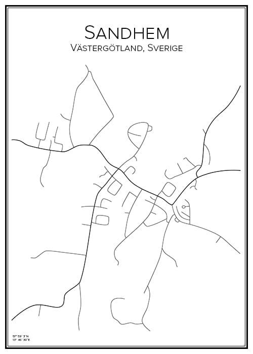 Stadskarta över Sandhem
