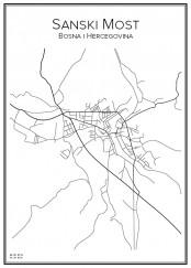 Stadskarta över Sanski Most