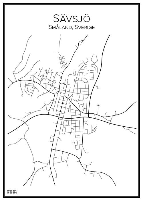 Stadskarta över Sävsjö