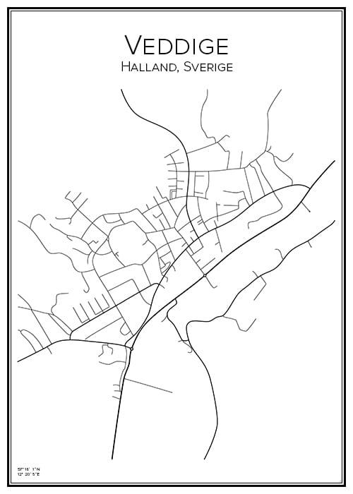 Stadskarta över Veddige