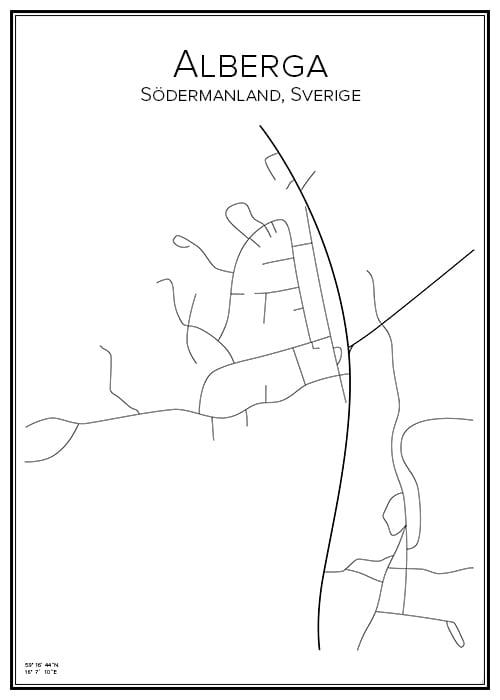 Stadskarta över Alberga