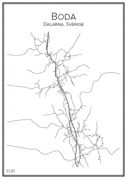 Stadskarta över Boda