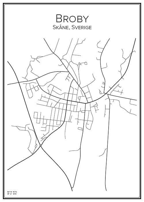Stadskarta över Broby