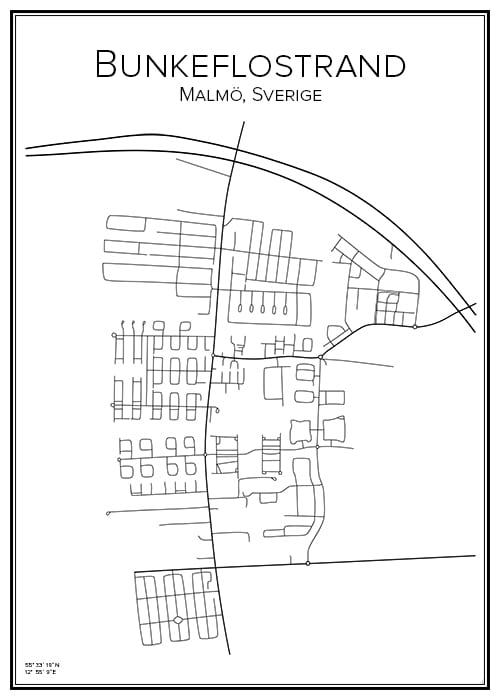 Stadskarta över Bunkeflostrand