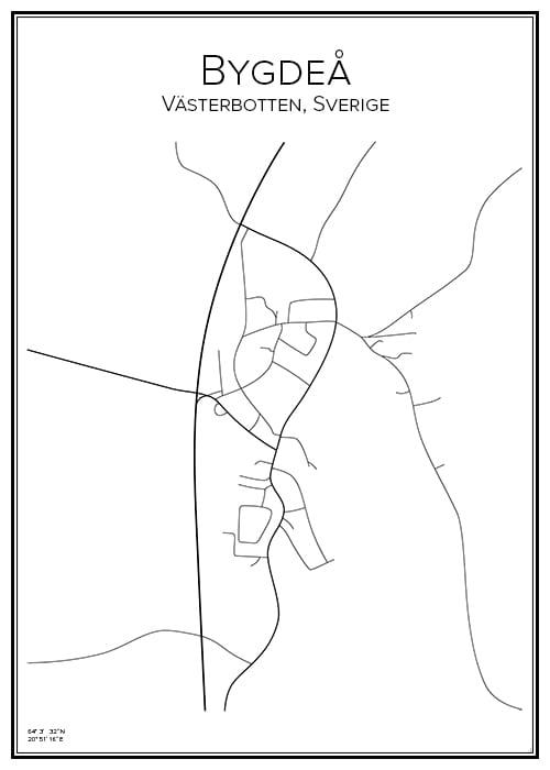 Stadskarta över Bygdeå