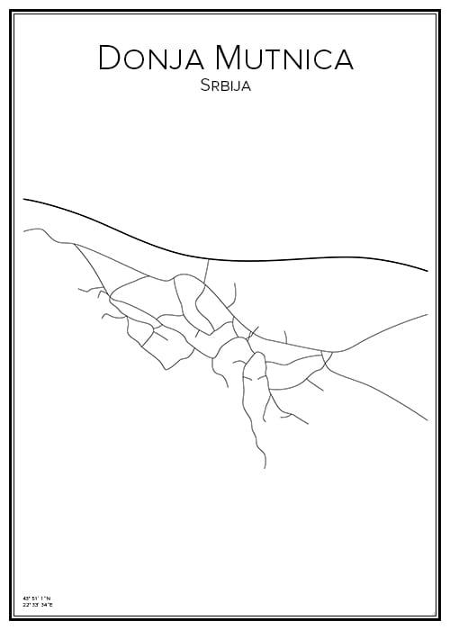 Stadskarta över Donja Mutnica