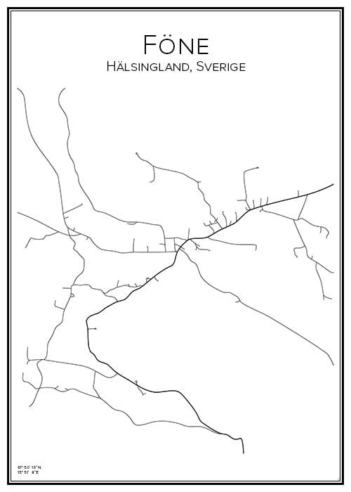 Stadskarta över Föne