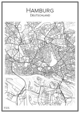 Stadskarta över Hamburg