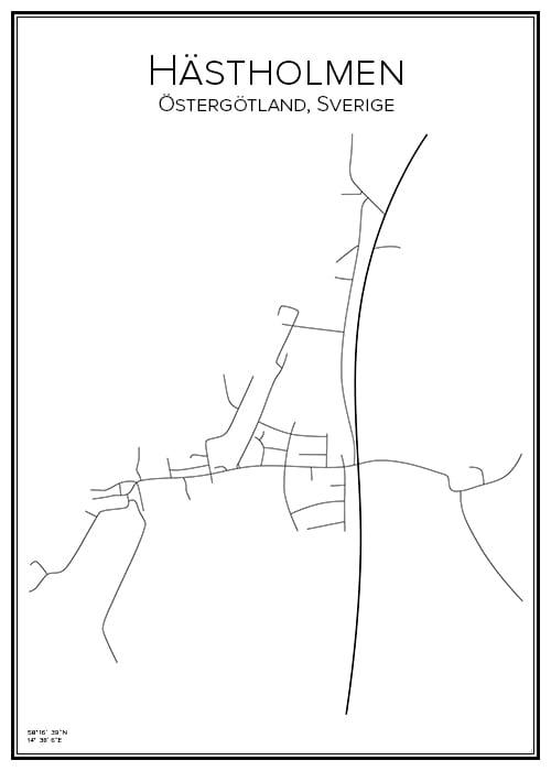 Stadskarta över Hästholmen