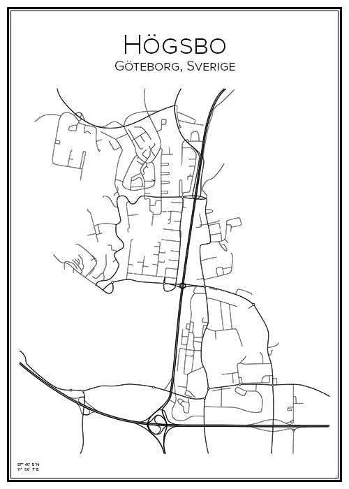 Stadskarta över Högsbo