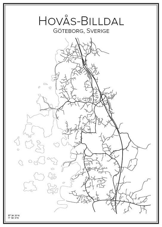 Stadskarta över Hovås-Billdal