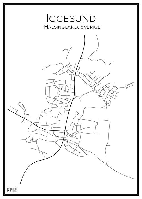 Stadskarta över Iggesund