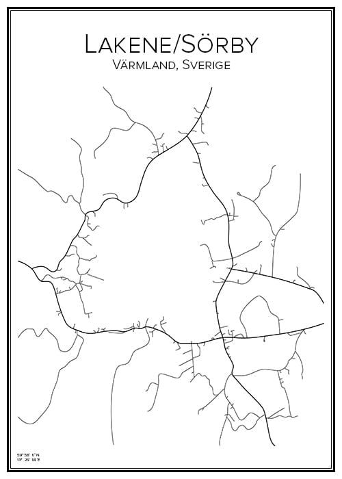 Stadskarta över Lakane-Sörby