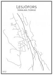 Stadskarta över Lesjöfors