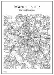Stadskarta över Manchester