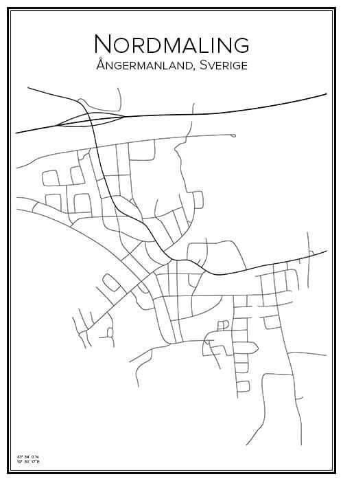 Stadskarta över Nordmaling