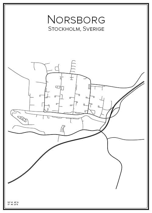 Stadskarta över Norsborg
