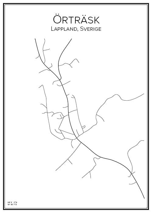 Stadskarta över Örträsk