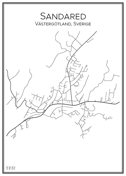 Stadskarta över Sandared