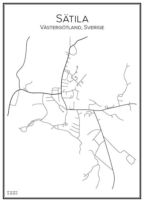 Stadskarta över Sätila