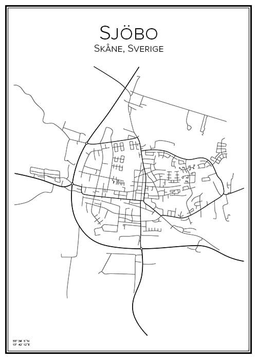 Stadskarta över Sjöbo