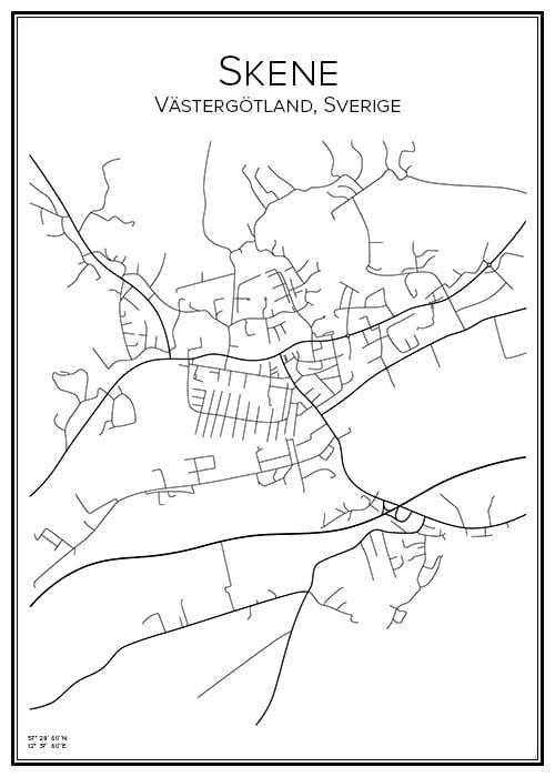 Stadskarta över Skene