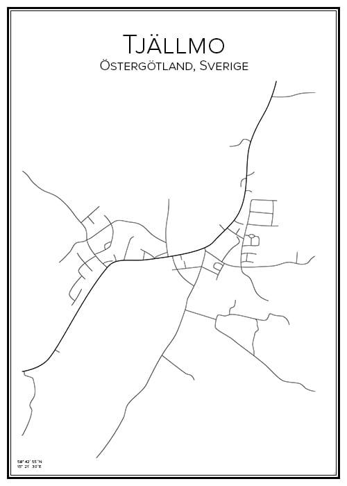 Stadskarta över Tjällmo