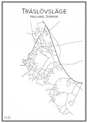 Stadskarta över Träslövsläge
