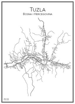 Stadskarta över Tuzla