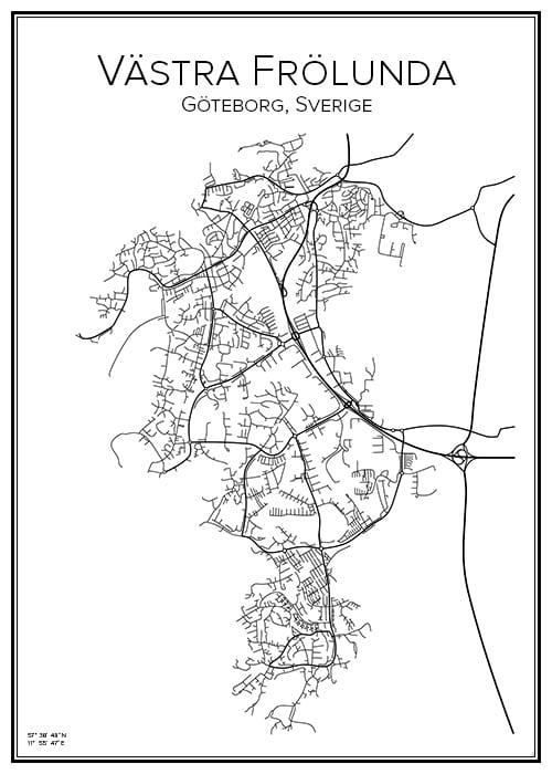 Stadskarta över Västra Frölunda