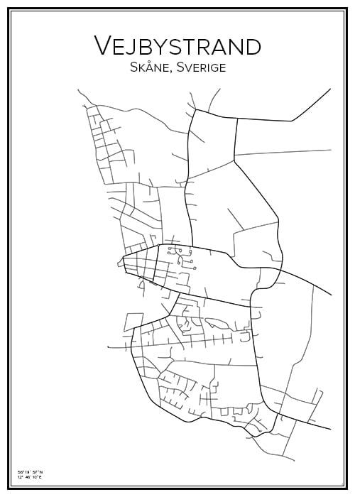 Stadskarta över Vejbystrand