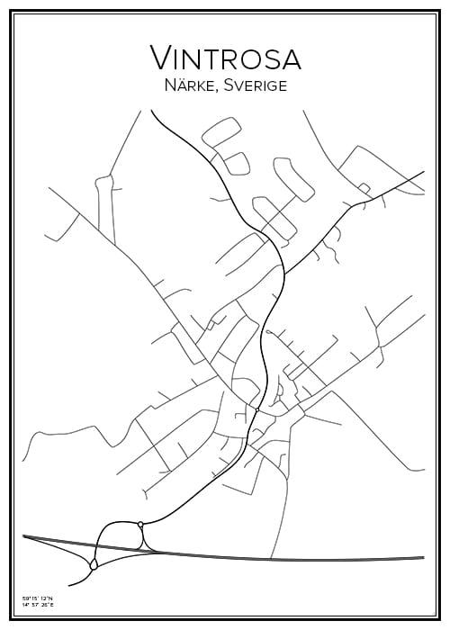 Stadskarta över Vintrosa