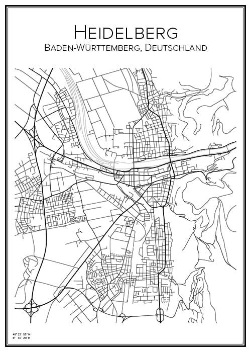 Stadskarta över Heidelberg