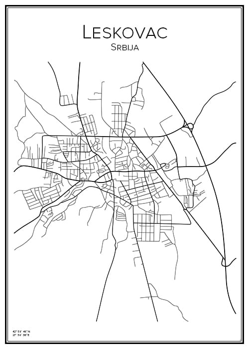 Stadskarta över Leskovac
