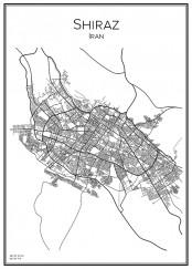 Stadskarta över Shiraz