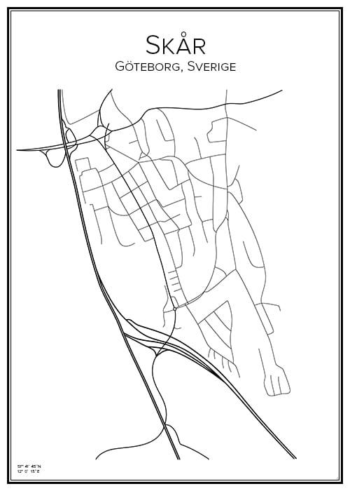 Stadskarta över Skår