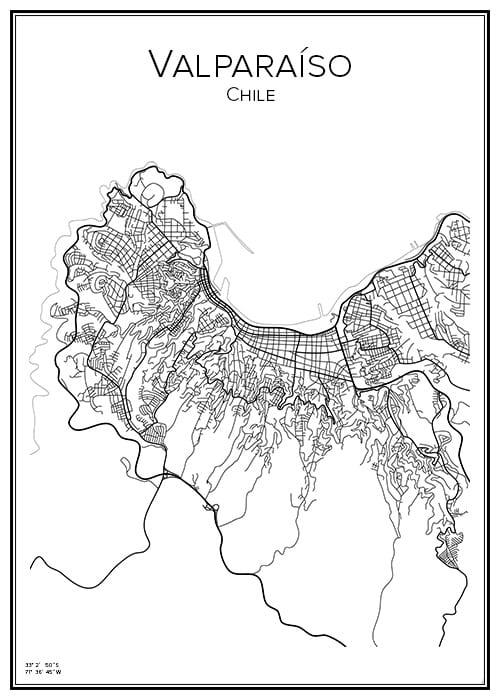 Stadskarta över Valparaiso