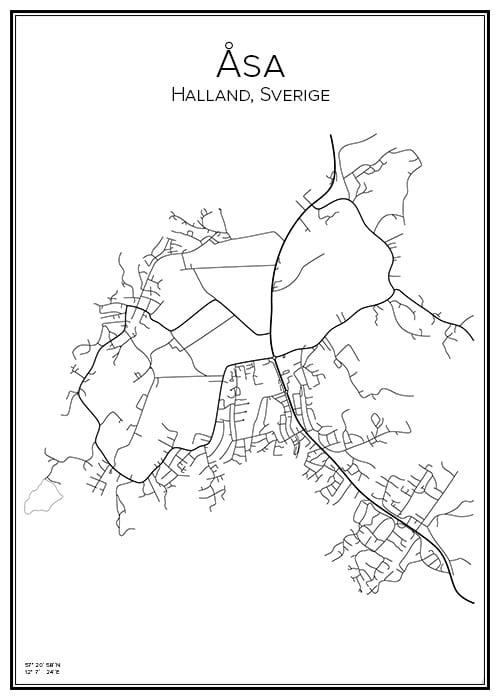 Stadskarta över Åsa