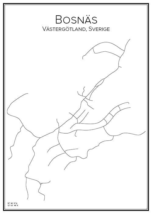 Stadskarta över Bosnäs