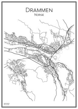 Stadskarta över Drammen