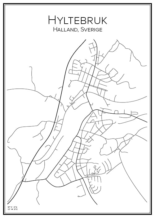 Stadskarta över Hyltebruk