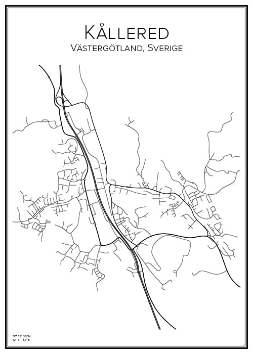 Stadskarta över Kållered