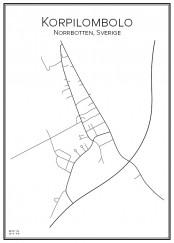 Stadskarta över Korpilombolo