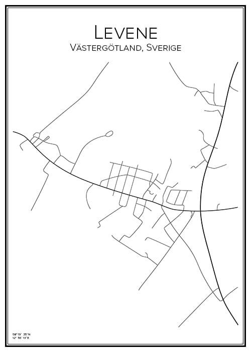 Stadskarta över Levene