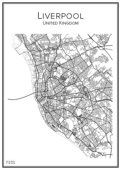 Stadskarta över Liverpool