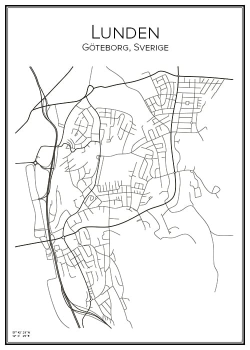 Stadskarta över Lunden